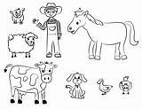 Farm Coloring Animal Printable Animals Colouring sketch template
