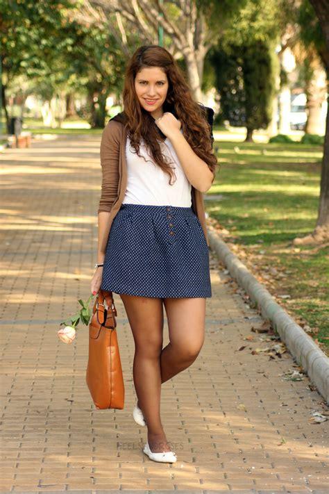 Outfit falda azul
