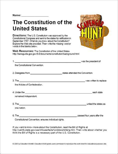 printables   constitution scavenger hunt worksheet
