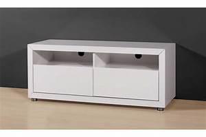 Meuble Tv Banc : meuble tv blanc 120 cm meuble rangement tv maisonjoffrois ~ Teatrodelosmanantiales.com Idées de Décoration