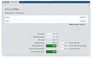 Deckungsbeitrag In Prozent Berechnen : preiskalkulation gastronomie kalkulation programm gastrosmart ~ Themetempest.com Abrechnung