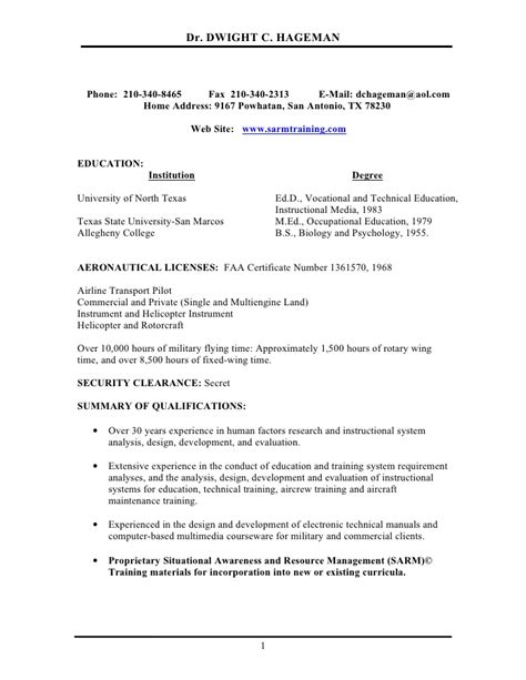 Civil Air Patrol Resume Exle by R E S U M E