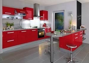 10 cuisine rouge qui donnent des idees de decoration With cuisine rouge et grise