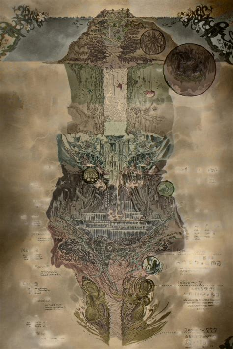 Made In Abyss Wallpaper Image Abyss Map Colored Jpg Made In Abyss Wiki Fandom Powered By Wikia