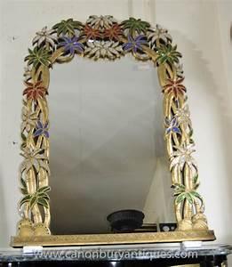 French art nouveau pier mirror tropical floral frame mirrors for Tropical bathroom mirrors