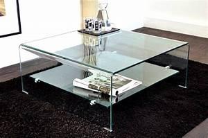 Table Carrée Verre : wave table basse carree en verre double plateau 80x80 cm ~ Teatrodelosmanantiales.com Idées de Décoration