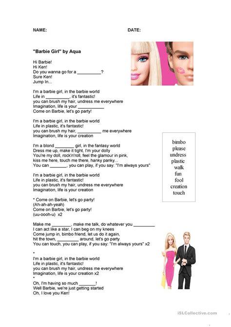 sexist stereotypes barbie girl song worksheet  esl