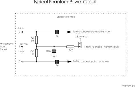 Phantom Power Xlr Wiring Diagram by Phantom Power Microphone Wiring And Circuit Diagram
