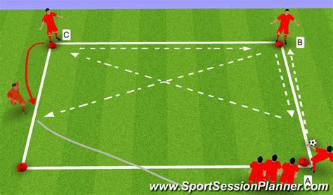 footballsoccer basic square passing pattern technical