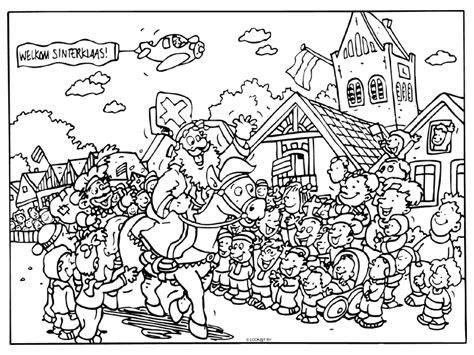 Kleurplaat Sinterklaas Komt Op Bezoke by Kleurplaat Sinterklaas Kleurplaat Sinterklaas
