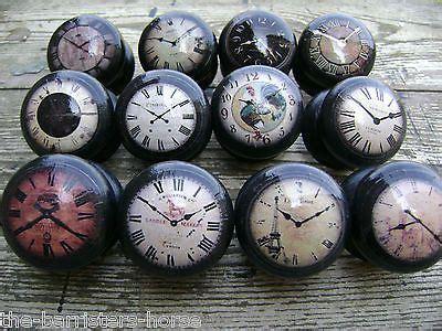 shabby vintage style clocks black cupboard drawer knobs