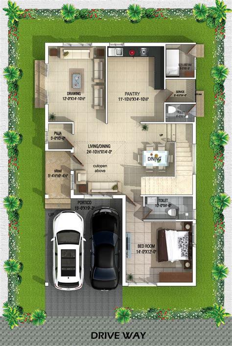 type west facing villa ground floor plan bhk house plan indian house plans house plans