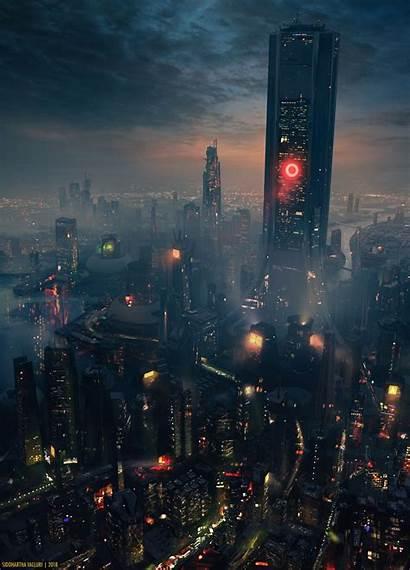Cyberpunk Dark Concept Cyber Night Future Cityscape