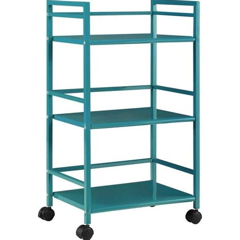 altra furniture marshall 3 shelf metal rolling utility