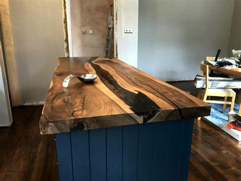 bespoke english walnut kitchen island  epoxy river