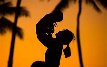 Mother Child Silhouettes Sunset Widescreen