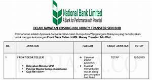 Nbl Money Transfer Sdn Bhd  1   U2022 Kerja Kosong Kerajaan