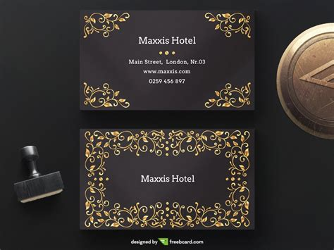 black golden floral business card template  freebcard