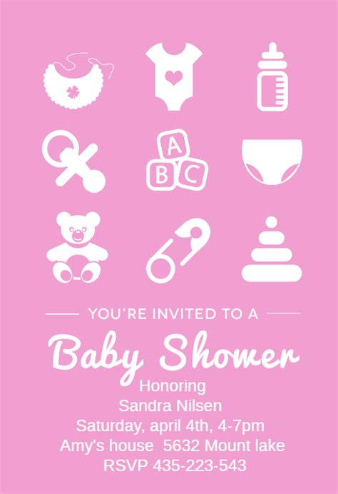 pink baby items baby shower invitation template