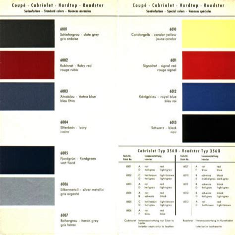 porsche red paint code color charts 356 service