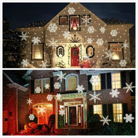 outdoor laser lights white xmas lights white snow sparkling landscape projector