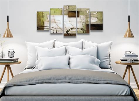 5 Panel Brown Green Painting Abstract Living Room Canvas