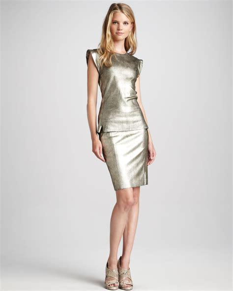 Skaist Taylor Metallic Leather Pencil Skirt In Metallic Lyst