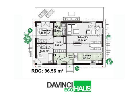 plan cuisine ouverte salle manger maison plain pied en ossture bois écologique