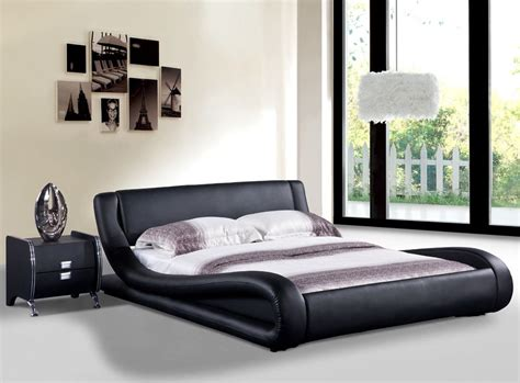 Dona Black Faux Leather Modern Platform Bed Queen,east