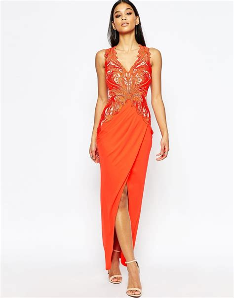 Lipsy Lace Applique Dress by Lipsy Lace Applique Maxi Dress With Plunge In Orange