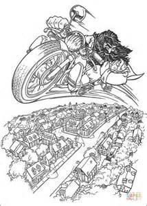 hagrid rides flying motorcycle coloring page  printable coloring pages