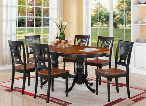7pc Plainville Oval Double Pedestal Dining Table + 6 Wood