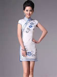 White Short Qipao Cheongsam Chinese Party Dress