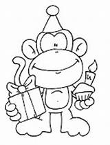 Birthday Monkey Coloring Digi Happy Printable Stamps Pages Cherry Picker Digital Drawing Google Colouring Card Monkeys Cake Template Freebie Sheets sketch template