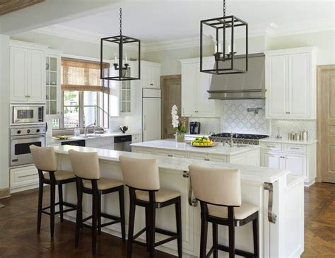 White Kitchen High Chairs Long Kitchen Island  Kitchens
