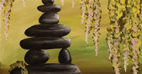 zen pond step  step acrylic painting  canvas