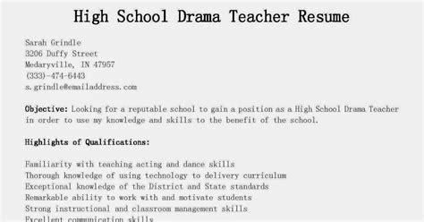 High School Theatre Resume by Resume Sles High School Drama Resume Sle