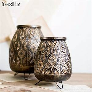 Noolim, Vintage, Black, Gold, Iron, Hollow, Carved, Candle, Holders, Home, Decor, Small, Tealight, Candle