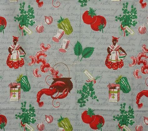 Vintage 1940s Kitchen Drape Fabric   Jambalaya Recipe