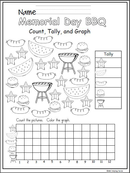 memorial day bbq math graph  writing worksheets