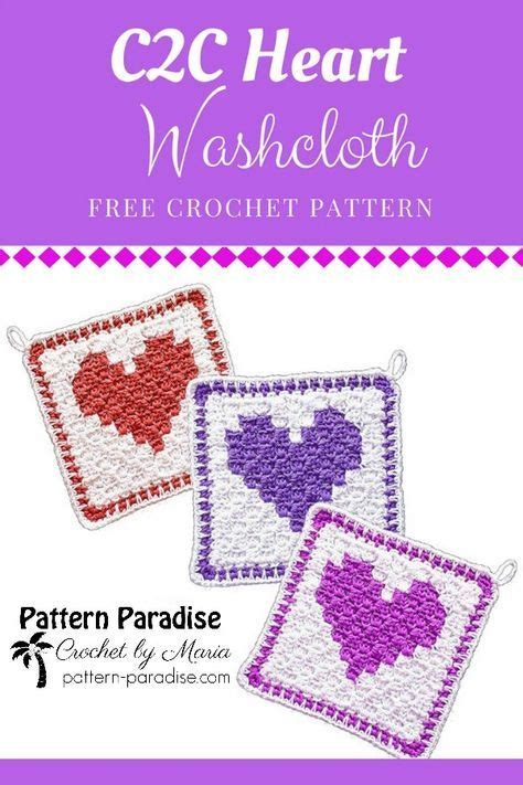 Free Crochet Pattern: C2C Heart Washcloth | Pattern ...