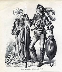 German citizens in 16th century fashion. Knight in full ...