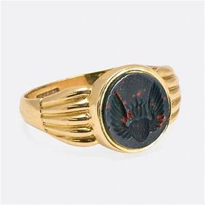 Victorian Bloodstone Winged Flaming Heart Gold Signet Ring