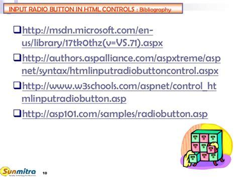 html server input radiobutton vb