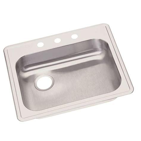 single basin drop in kitchen sink elkay dayton drop in stainless steel 25 in 3 hole single
