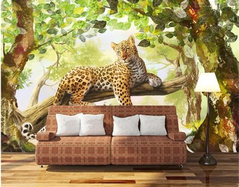 custom mural  photo wallpaper  jungle panther tv home