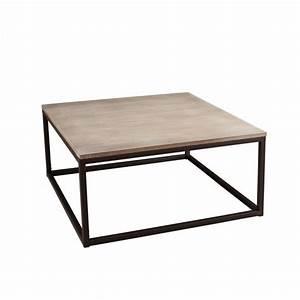 Table Basse Bois Metal : table basse industrielle carr e m tal et bois 90x90x44 lali pier import ~ Teatrodelosmanantiales.com Idées de Décoration