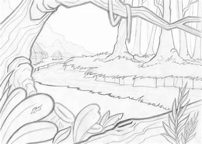 Jungle Coloring Pages Scenery Scene Drawing Drawn