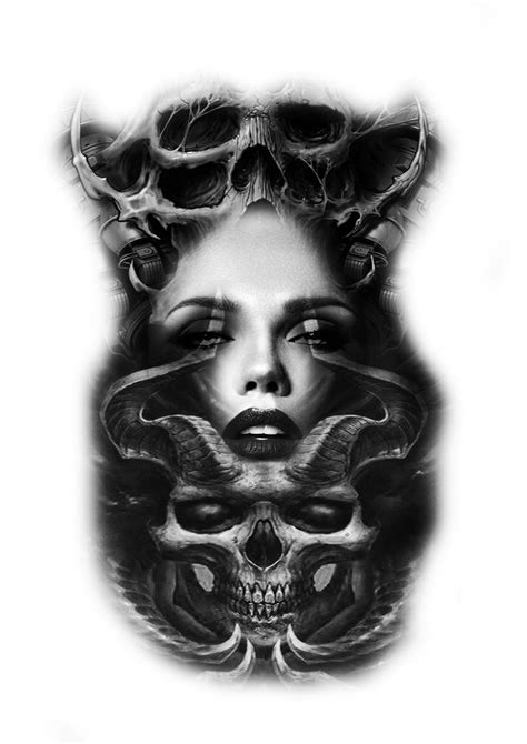 biomech skulls morphs girls face tattoo design   Tattoos, Tattoo designs, Girl face tattoo