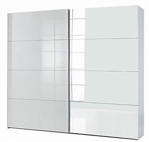 Armoire Porte Miroir : armoire 2 portes coulissantes attimi blanc miroir ~ Teatrodelosmanantiales.com Idées de Décoration